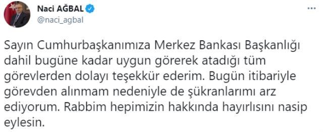 Görevden alınan Merkez Bankası Başkanı Ağbal'ın veda mesajı sosyal medyada gündem oldu